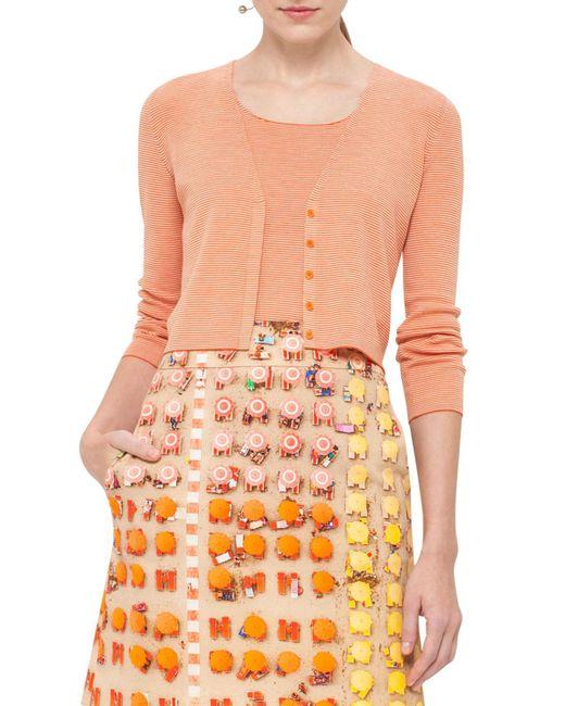 Akris Punto - Orange Micro-stripe Wool V-neck Cropped Cardigan - Lyst