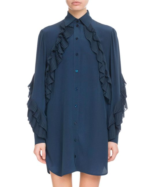 Givenchy - Blue Button-front Long-sleeve Silk Tunic Dress W/ Pleated Ruffles - Lyst