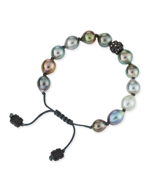 Armenta - Black Old World Tahitian Pearl Pull-cord Bracelet With Champagne Diamonds - Lyst