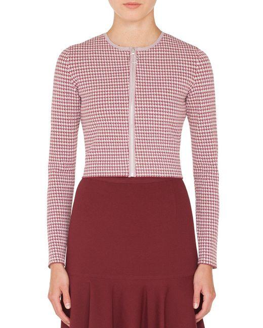 Akris Punto - Multicolor Zip-front Houndstooth-knit Bolero Jacket - Lyst