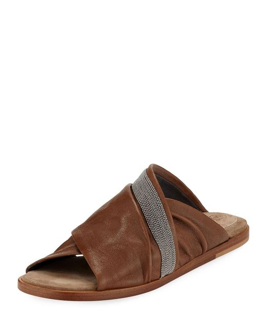 Brunello Cucinelli - Brown Leather Crisscross Sandals - Lyst