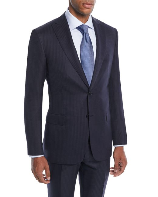 Brioni Blue Men's Tonal Stripe Wool-silk Two-piece Suit for men