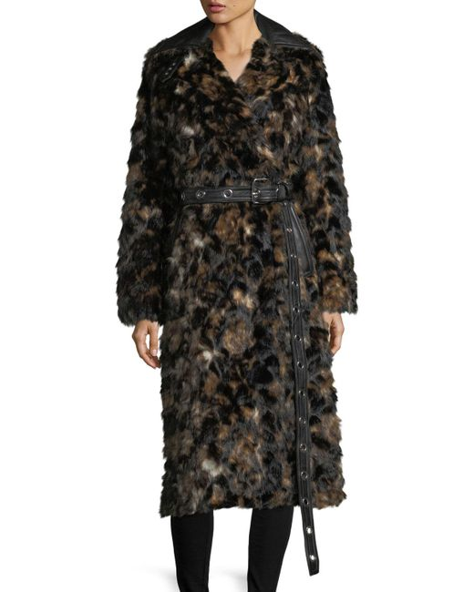 Helmut Lang - Brown Tortoise Faux-fur Shawl-collar Belted Coat W/ Faux-leather Trim - Lyst