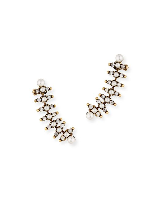Auden - Metallic Bronson Pearly Climber Earrings - Lyst