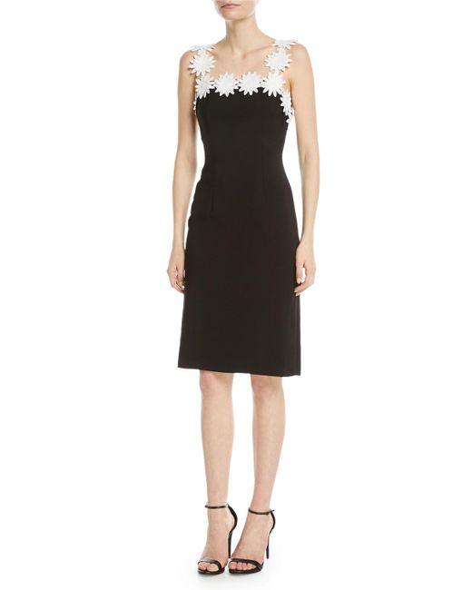 NK32 Naeem Khan - Black Daisy-trim Square-neck Sheath Dress - Lyst