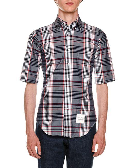 Thom Browne - Blue Classic Madras Check Poplin Shirt for Men - Lyst