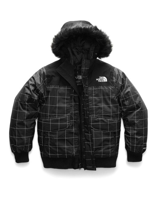 c0e7bd826c The North Face - Black Gotham Down Hooded Grid Jacket W  Faux-fur Trim ...