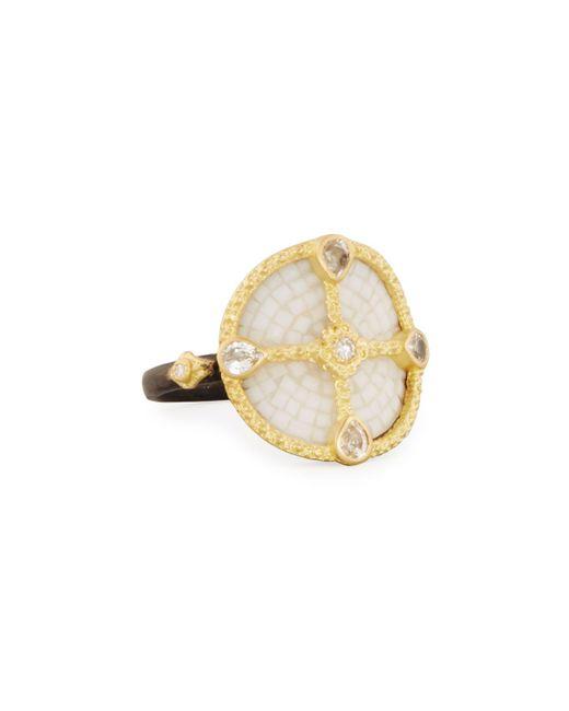 Armenta | Metallic Old World Mosaic Shield Ring With Diamonds & Sapphires | Lyst