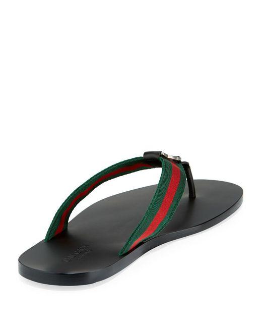 3cd0074245cb8 ... Gucci - Black GG Line Signature Web Thong Sandal for Men - Lyst ...