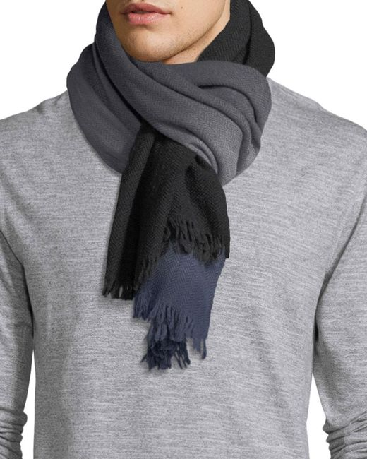 Paul Smith | Black Ombre Herringbone Wool Scarf for Men | Lyst