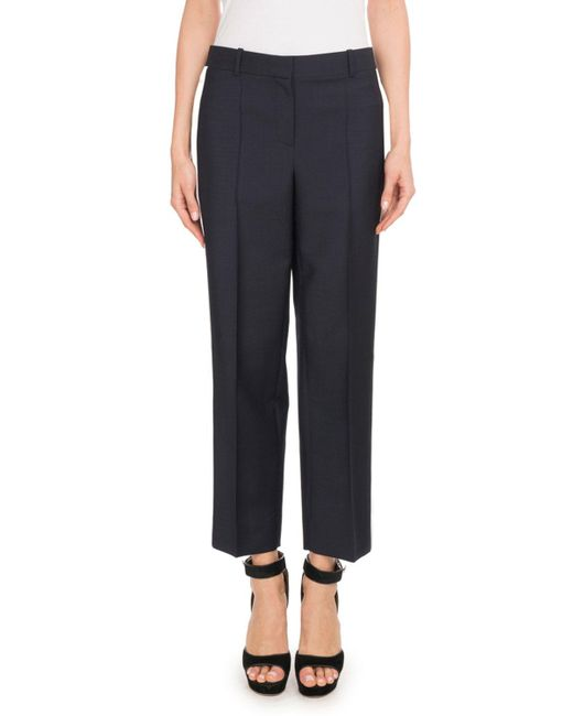 Givenchy - Blue Wide-leg Side-stripe Satin Tuxedo Ankle Pants - Lyst