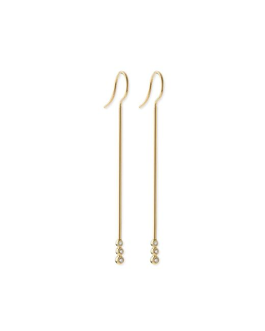 Mizuki | Metallic 14k Gold Three-diamond Bar Earrings | Lyst