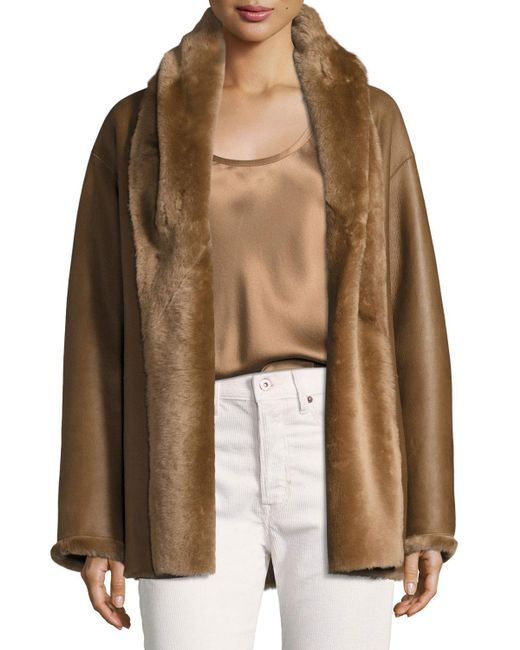 Vince | Brown Shawl Collar Reversible Shearling Coat | Lyst
