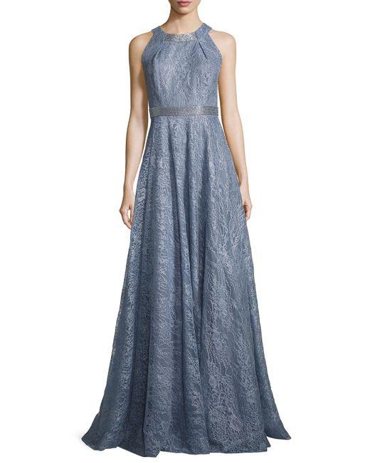 Carmen Marc Valvo | Blue Sleeveless Metallic Floral Gown | Lyst