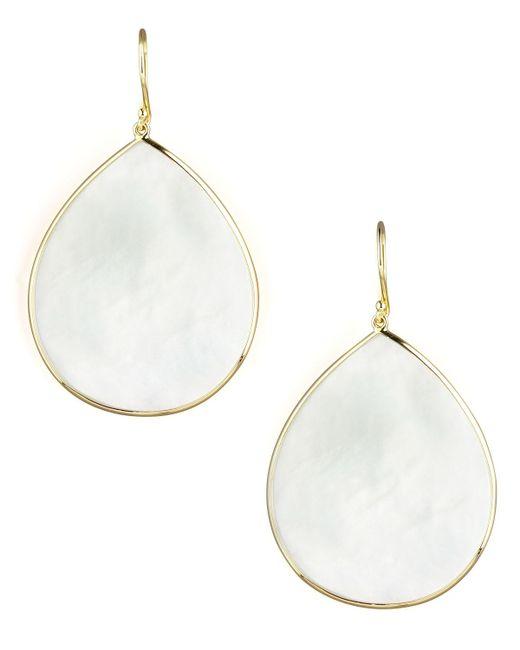 Ippolita - White 18k Giant Teardrop Slice Earrings In Mother-of-pearl - Lyst