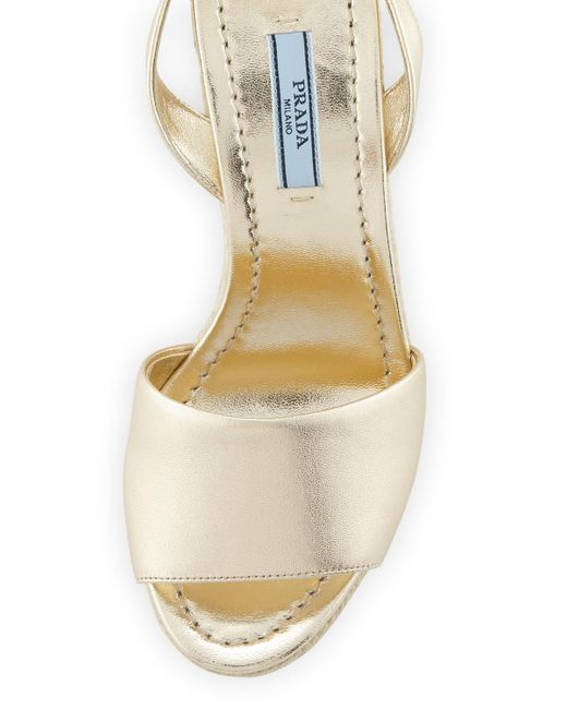9ddb15262c0 Lyst - Prada Metallic Wedge Espadrille Sandals in Metallic