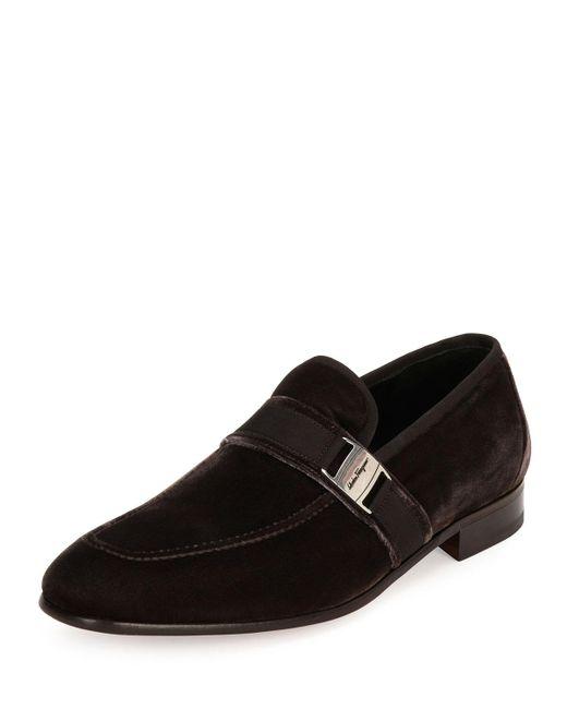 Ferragamo   Brown Danny 2 Velvet Formal Loafer for Men   Lyst