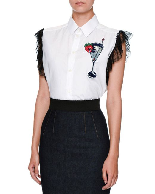 Dolce & Gabbana | White Martini-embroidered Lace-trim Blouse | Lyst
