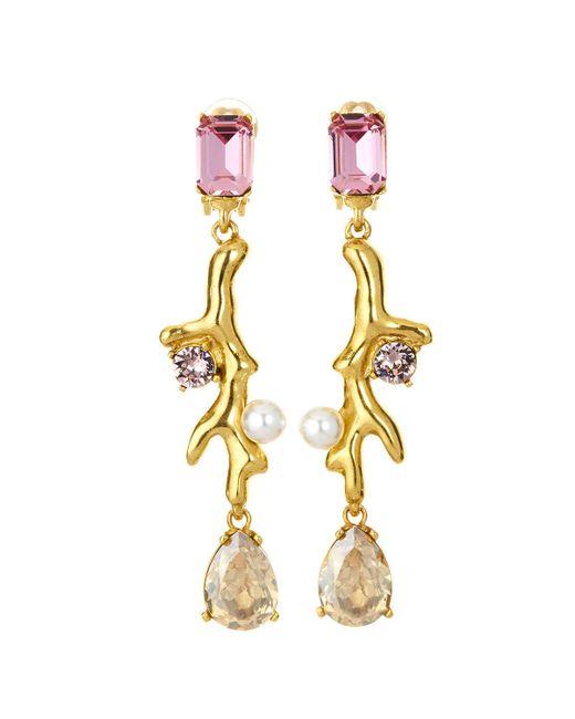 Oscar de la Renta - Metallic Coral Crystal Drop Earrings - Lyst