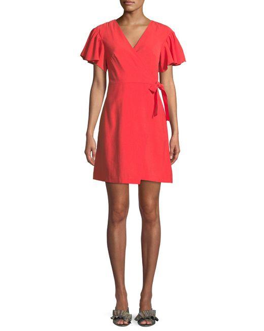 Club Monaco - Pink Geovanna Flutter-sleeve Wrap Dress - Lyst