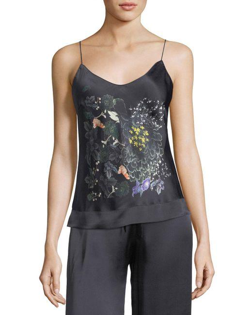 Meng   Black Floral-print Silk Camisole   Lyst