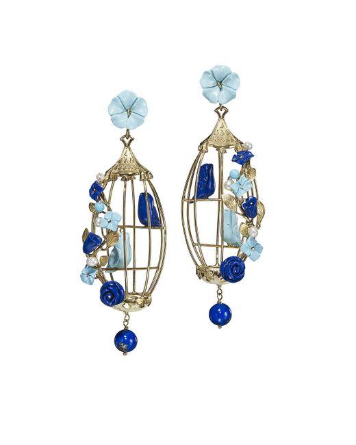 Of Rare Origin | Blue Lovebirds Lapis & Turquoise Drop Earrings | Lyst