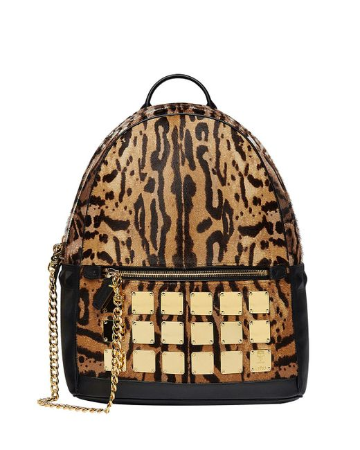 MCM - Multicolor Men's Stark Brass Plate Leopard Medium Backpack - Lyst