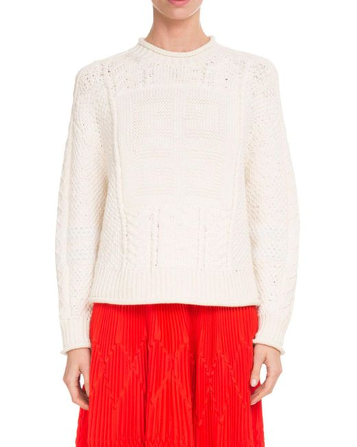 Givenchy - White Crewneck Long-sleeve Logo Fisherman Knit Wool Sweater - Lyst