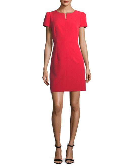 MILLY | Red Short Pouf Sleeve Italian Cady Dress | Lyst