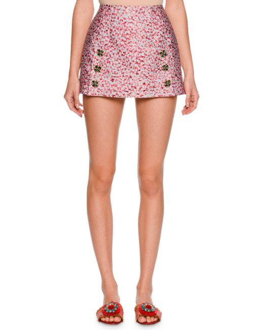 Dolce & Gabbana   Gray Leopard-print Fil Coupe Mini Skirt   Lyst