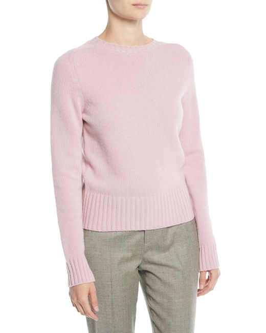 Ralph Lauren Collection - Pink Crewneck Long-sleeve Pullover Wool-cashmere Sweater - Lyst