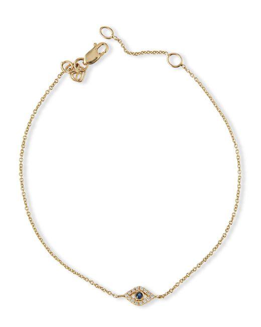 Sydney Evan - Metallic Small Sapphire & Diamond Evil Eye Bracelet - Lyst