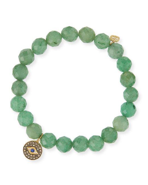 Sydney Evan - 8mm Faceted Green Beaded Bracelet W/14k Gold Diamond Evil Eye Charm - Lyst