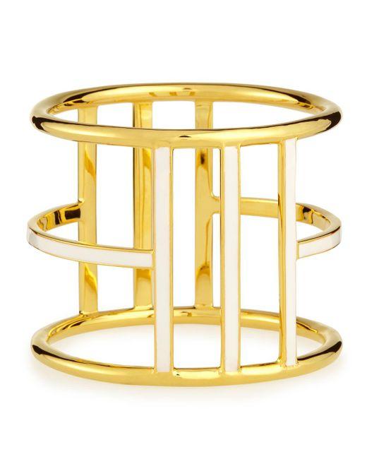 Nest | Metallic White Enamel Gold-plated Bangle | Lyst