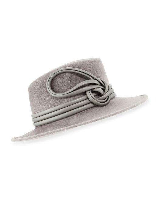 Philip Treacy - Gray Raiders Trilby Velour Hat W/ Leather Trim - Lyst
