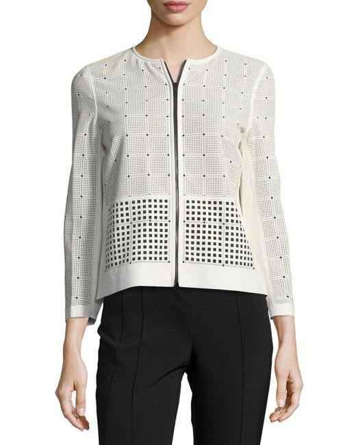 Lafayette 148 New York - White Emma Leather & Fabric Laser-cut Jacket - Lyst