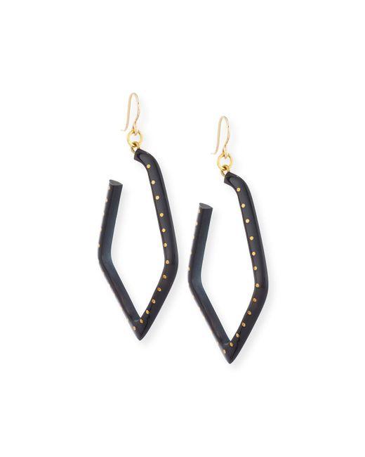Ashley Pittman - Brown Awali Studded Dark Horn Hoop Earrings - Lyst
