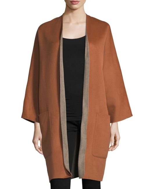 Vince | Gray Reversible Cardigan Wool-cashmere Coat | Lyst