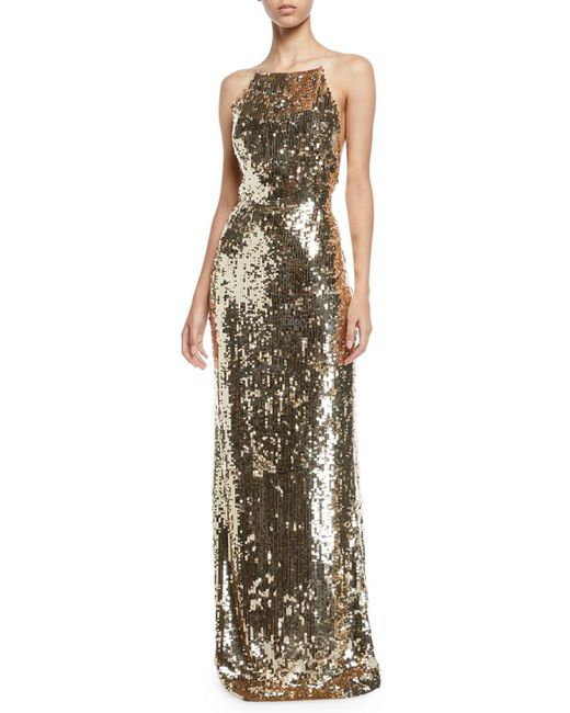 Jason Wu - Metallic Sequined Georgette Apron Gown - Lyst