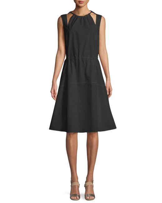 Derek Lam - Black Sleeveless Halter Cotton Cami Dress W/ Seamed Skirt - Lyst