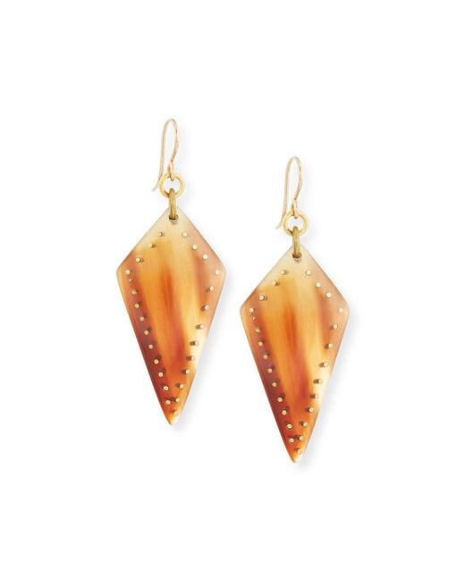 Ashley Pittman - Brown Radi Studded Mixed Horn Drop Earrings - Lyst