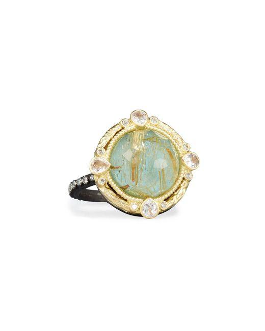 Armenta - Metallic Old World Midnight Turquoise & Quartz Doublet Ring With Diamonds - Lyst