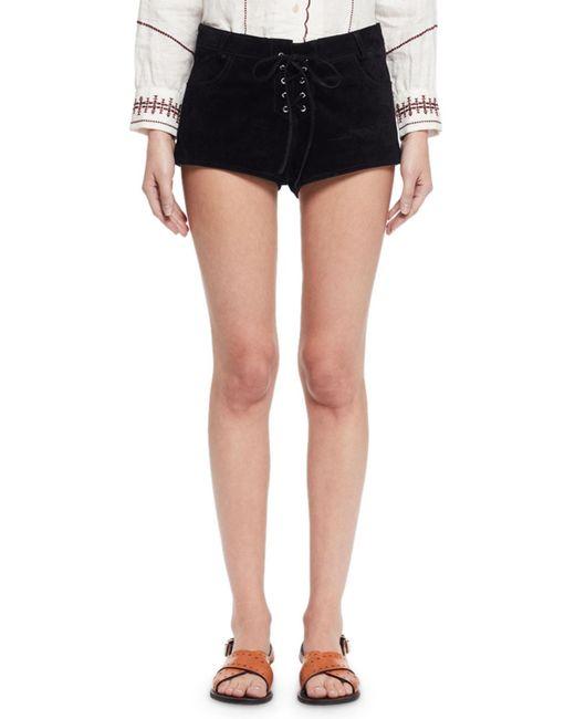 Étoile Isabel Marant   Black Danton Suede Tie-front Shorts   Lyst