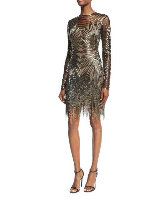 Naeem Khan   Gray Long-sleeve Fringed Cocktail Dress   Lyst