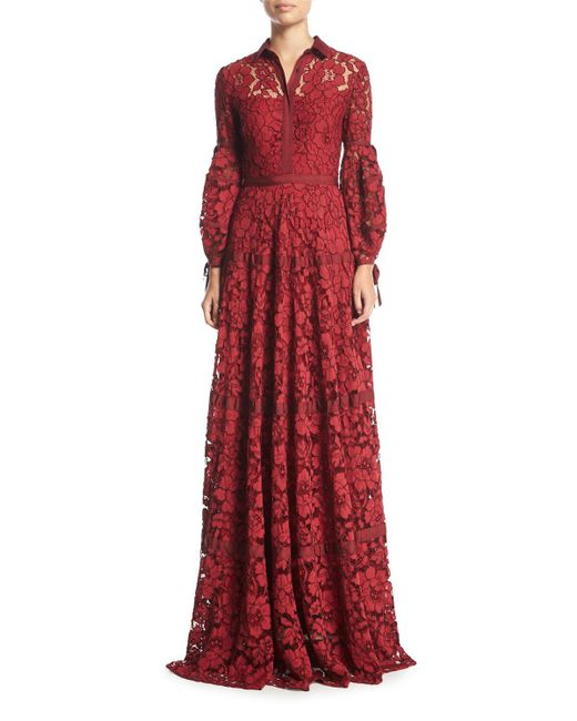 Lela Rose | Red Full-sleeve Lace Shirtwaist Gown | Lyst