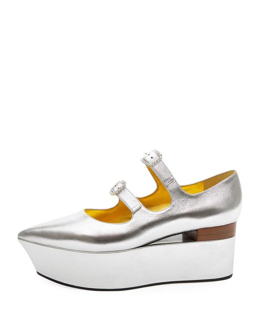 Gucci - Metallic Platform Ballet Flats - Lyst