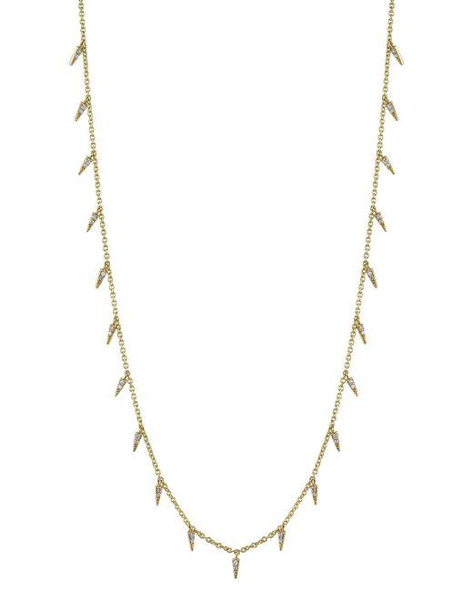 Sydney Evan - Metallic Pavé Diamond Fringe Drop Necklace - Lyst