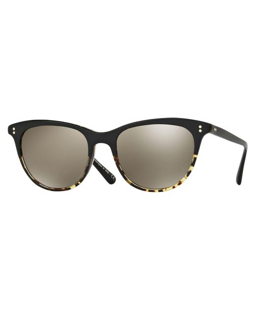Oliver Peoples | Black Jardinette Mirrored Square Sunglasses | Lyst