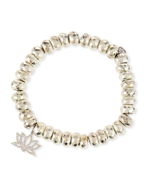 Sydney Evan - Metallic Pyrite Bead Bracelet With Diamond Lotus Charm - Lyst