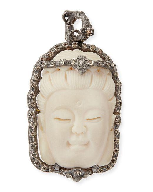 Armenta   White Bone Buddha Enhancer With Champagne Diamonds   Lyst